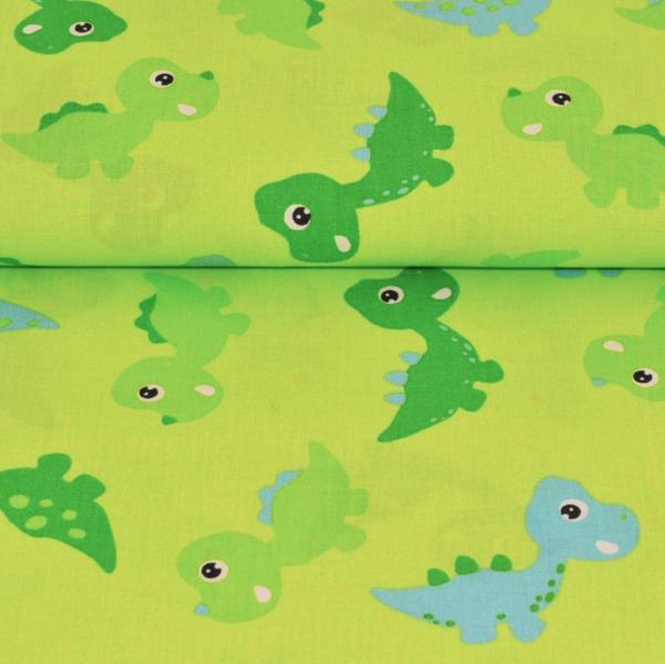 Dinos auf hellgrün, Baumwoll-Popeline