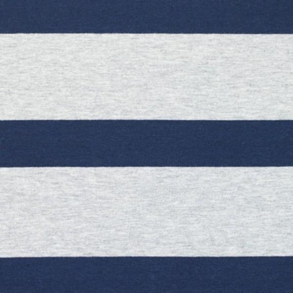 Bretone Streifen breit hellgrau meliert dunkelblau, Jersey