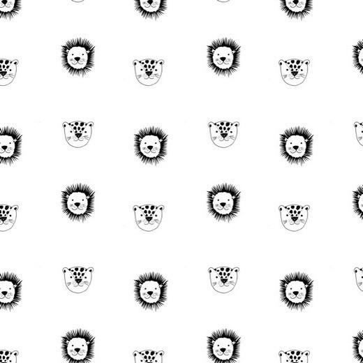 BIO-Baumwolllstoff, Kleiner Löwe weiß, waschbar bei 60°