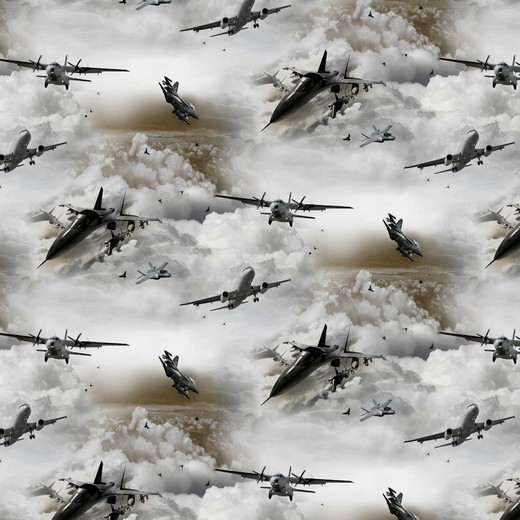 Digitaldruck Flugzeuge grau, Webstoff, waschbar bei 60°