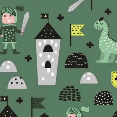 Ritter und Dinos auf dunkelgrün, Jersey