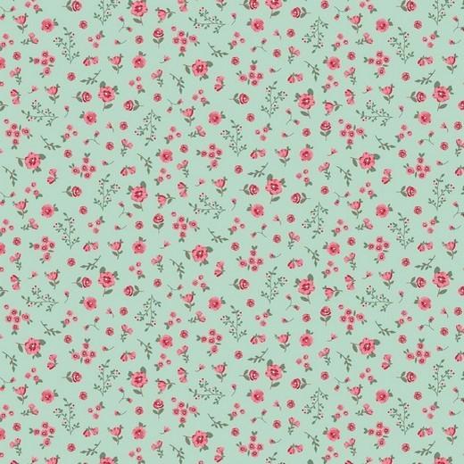 BIO-Baumwolllstoff, Streublümchen mint, waschbar bei 60°