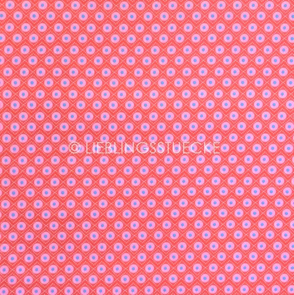Heidi Gänseblümchen rosa auf rot, Webstoff