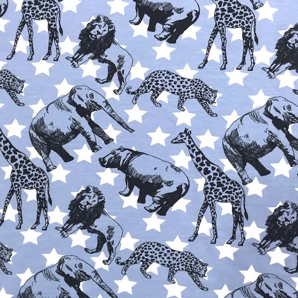 Cool Animals and Stars, jeansblau, Jersey, *SALE*