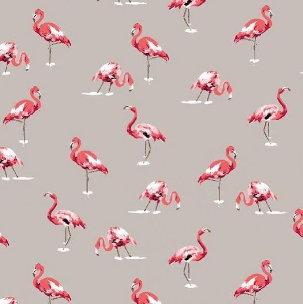 Leinen-Dekostoff Flamingos auf grau