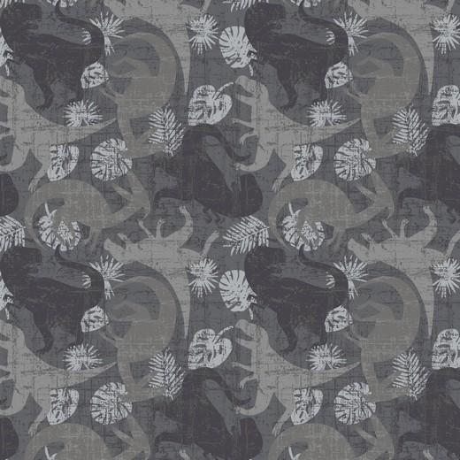 Dinosaurier grau, auf schwarz Jersey