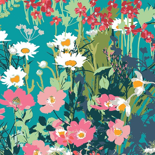 Art Gallery, Lavish Mothers Garden petrol, Baumwollstoff