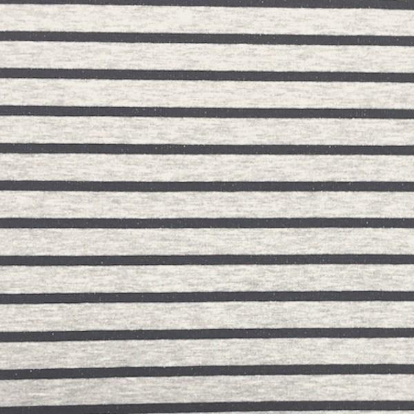 Streifensweat nachtblau auf grau-meliert
