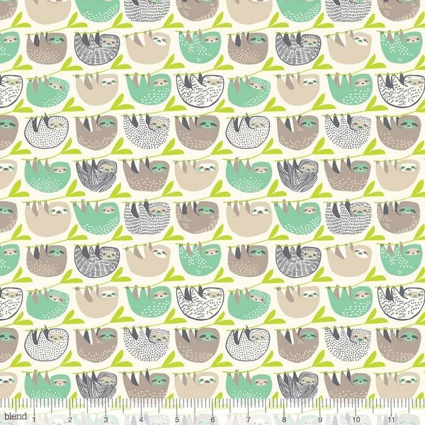 blendfabrics, Rainforest Slumber of Sloth auf offwhite, Webstoff