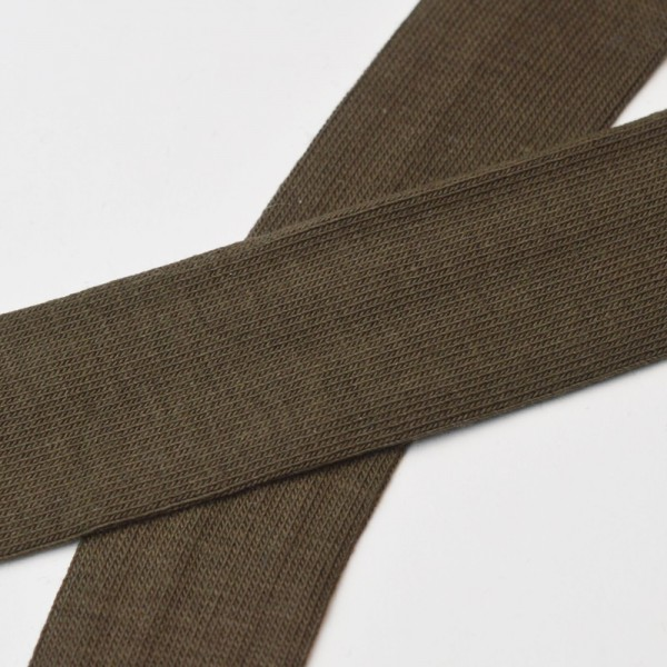 Baumwolljersey-Schrägband mit Elasthan, dunkelbraun