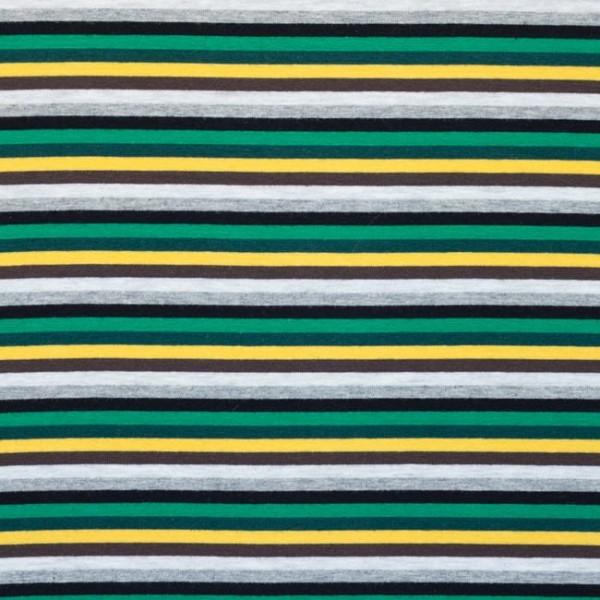 Jersey, Schmale Streifen grün/gelb/grau-meliert