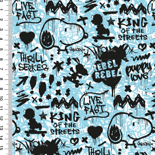 Peanuts, Snoopy Graffitti Rebel tebel türkisblau, Bio-Jersey