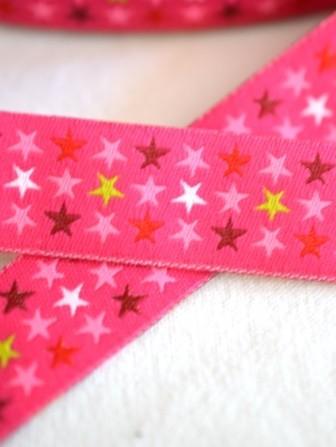 Sterne in drei Reihen, pink, Webband