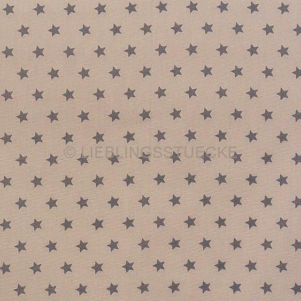 Stenzo kleine Sterne braun auf hellbraun, Popeline