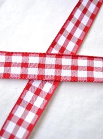 Stoffband, rot kariert (groß), 15 mm