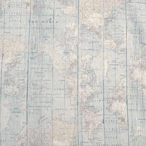 Vintage Weltkarte hellbraun, Dekostoff