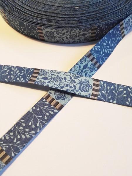 Rosengarten, blau, Webband