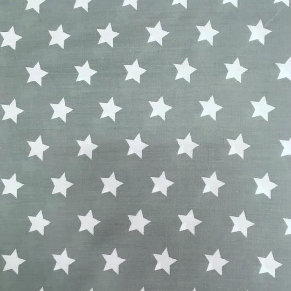 Stenzo, große Sterne weiß auf dunklem mint, Webstoff, *Letztes Stück ca. 90 cm*