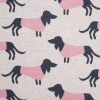 foto55 Into the Wild, Wiener Dog rosa-blau auf hellgrau, Bio-Jacquard-Jersey, *SALE*