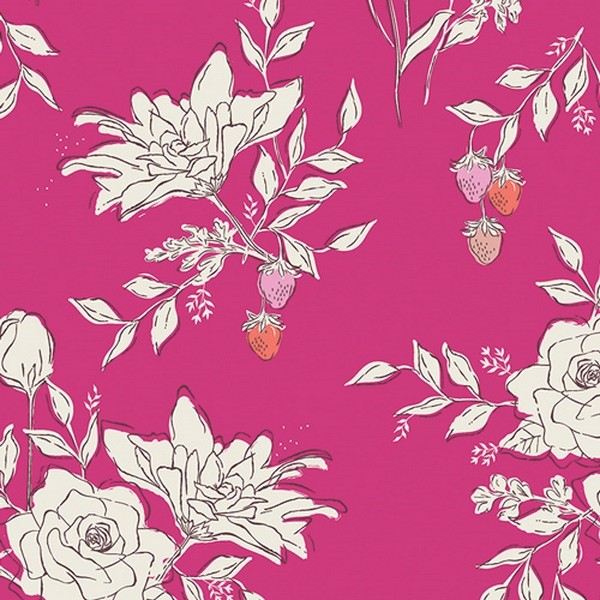 Art Gallery, Sonata Blumen auf pink, Jersey