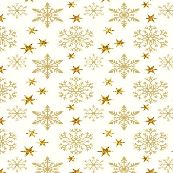 Xmas, Kristalle und Sterne gold auf offwhite, Baumwollstoff