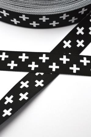 Weiße Kreuze auf schwarz, Webband