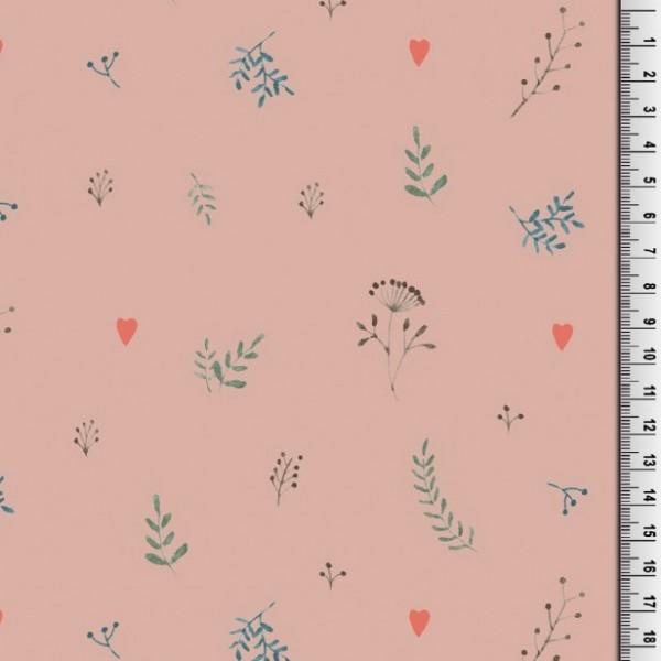 Blätter auf altrosa, Bio-Jersey, *Letztes Stück ca. 90 cm*