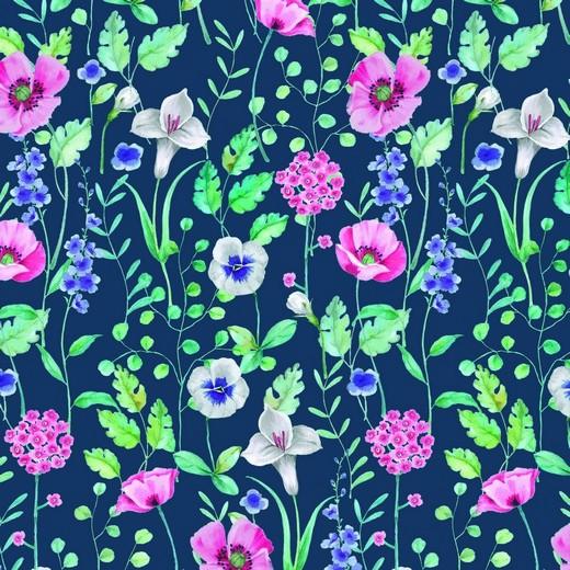 Blumenwiese auf dunkelblau, Bio-Sweat