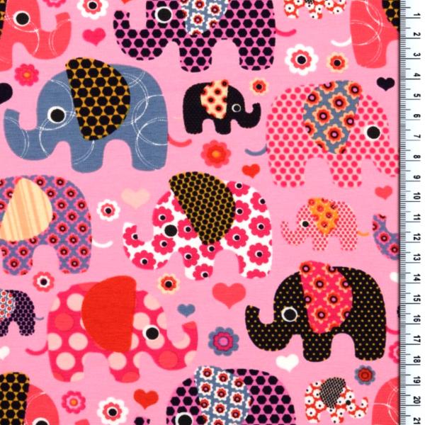 Bunte Elefanten auf rosa, Jersey