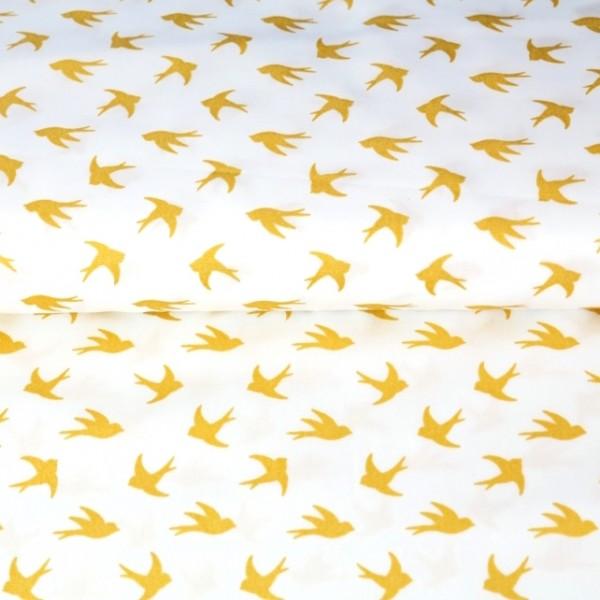 Stenzo Glitzer-Vögel gold auf weiß, Popeline