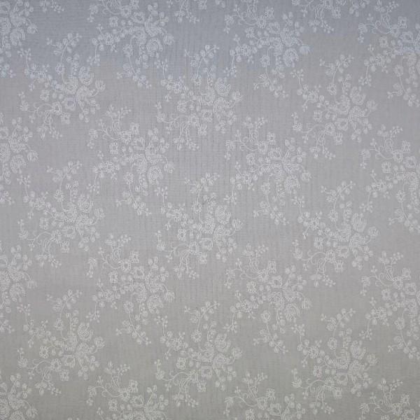 Blümchenranke auf grau, Baumwoll-Batist