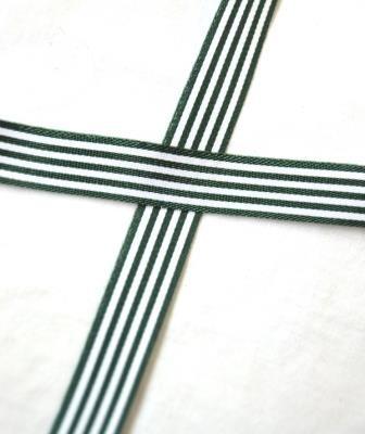 Stoffband, dunkelgrün gestreift, 10 mm