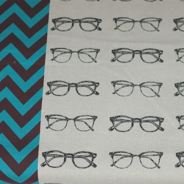 Echino Brillen Chevron auf creme, Canvas