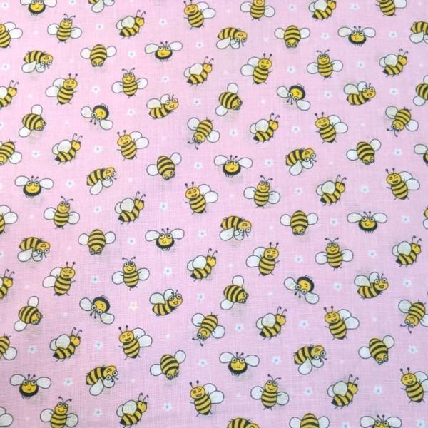 Süße Bienchen auf rosa, Baumwollstoff