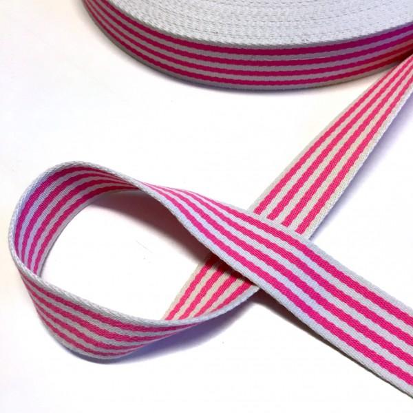 Baumwollgurtband gestreift, pink-weiß, 4 cm
