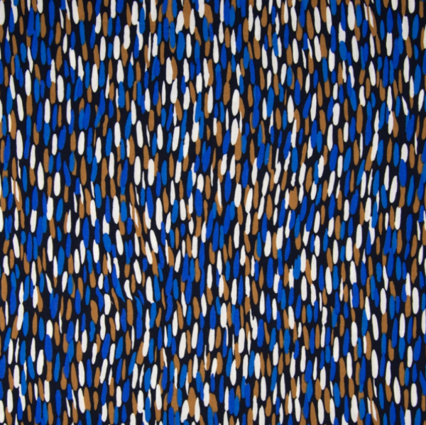 Viskosewebstoff Stripes blau/braun/sand