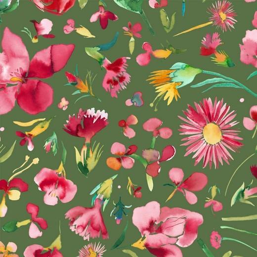 Dekostoff, Flower Bouquet khaki