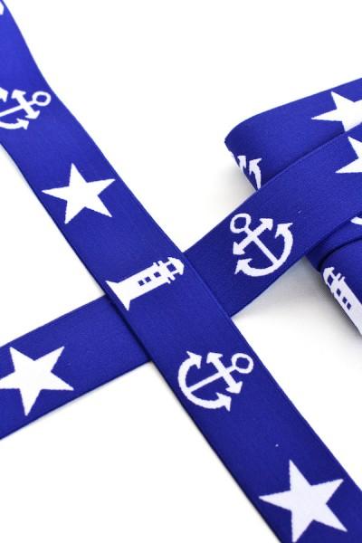 Gummiband breit, maritim blau