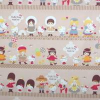 KOKKA Hello Kitty mit Kids, hellbraun, Webstoff
