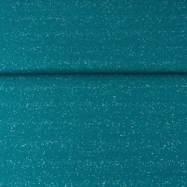 Glitzer-Bündchen mit Lurex petrol/silber