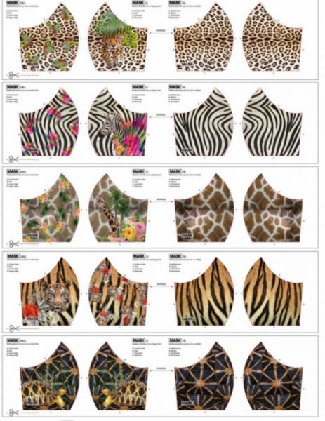 NEU! Maskenstoff Digitaldruck Leopard&Co für 10 Masken, Paneel, Baumwollstoff
