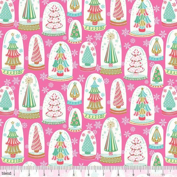blendfabrics, Vintage Noel Snowglobe Forest pink