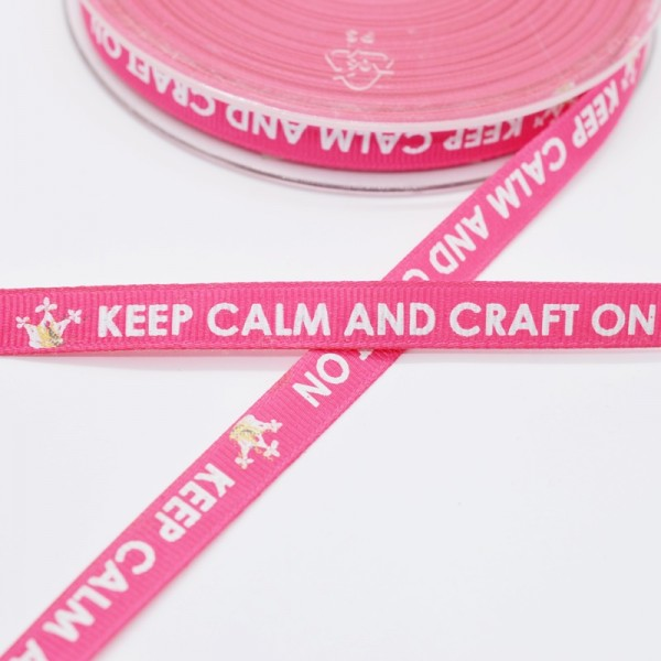 keep calm and craft on, pink, Ripsband