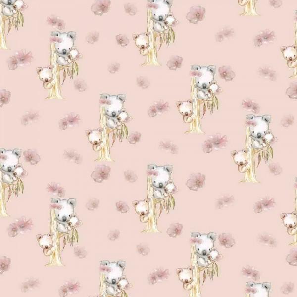 Digitaldruck, Koala Family auf rosa, Bio-Jersey