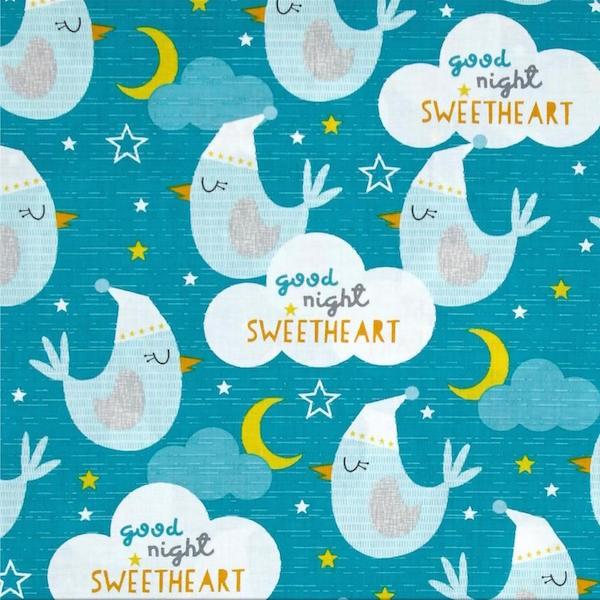 Sweet Dream Little One Birds, petrol, Webstoff