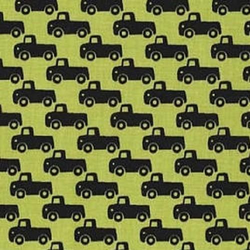 M.Miller Tiny Trucks Lime, Webstoff, *Letztes Stück ca. 100 cm*