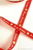 Merry Christmas Weihnachtskugel, rot, Ripsband