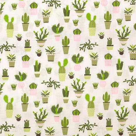 Baumwollpopeline, Kaktus auf offwhite