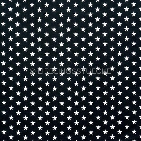 Lili Small Star weiß auf schwarz, Webstoff