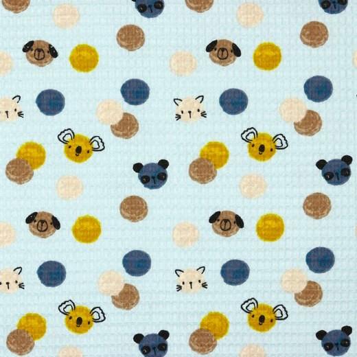 Waffelpique mit Tieren und Punkten, hellblau